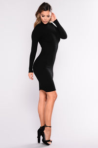 Perfect Timing Ribbed Dress - Black