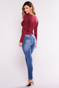 Lara Shirred Front Top - Burgundy