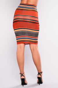 Read Between The Lines Skirt Set - Rust