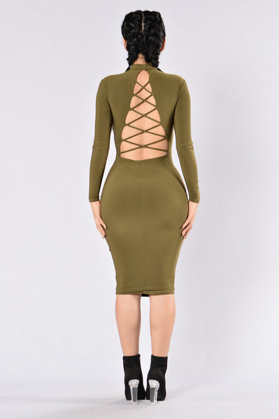 High On Life Dress - Olive
