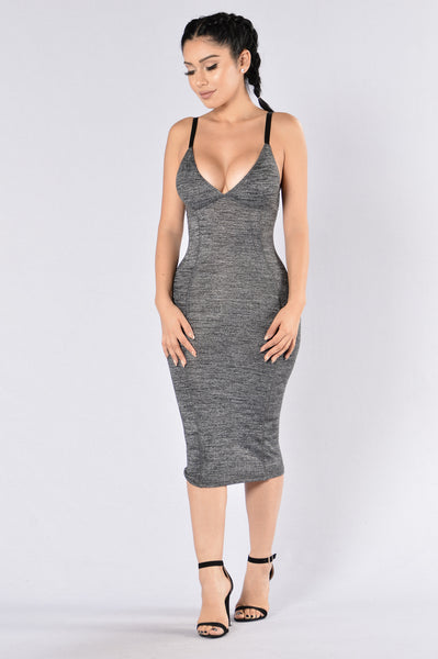 Don't Look Down Dress - Charcoal