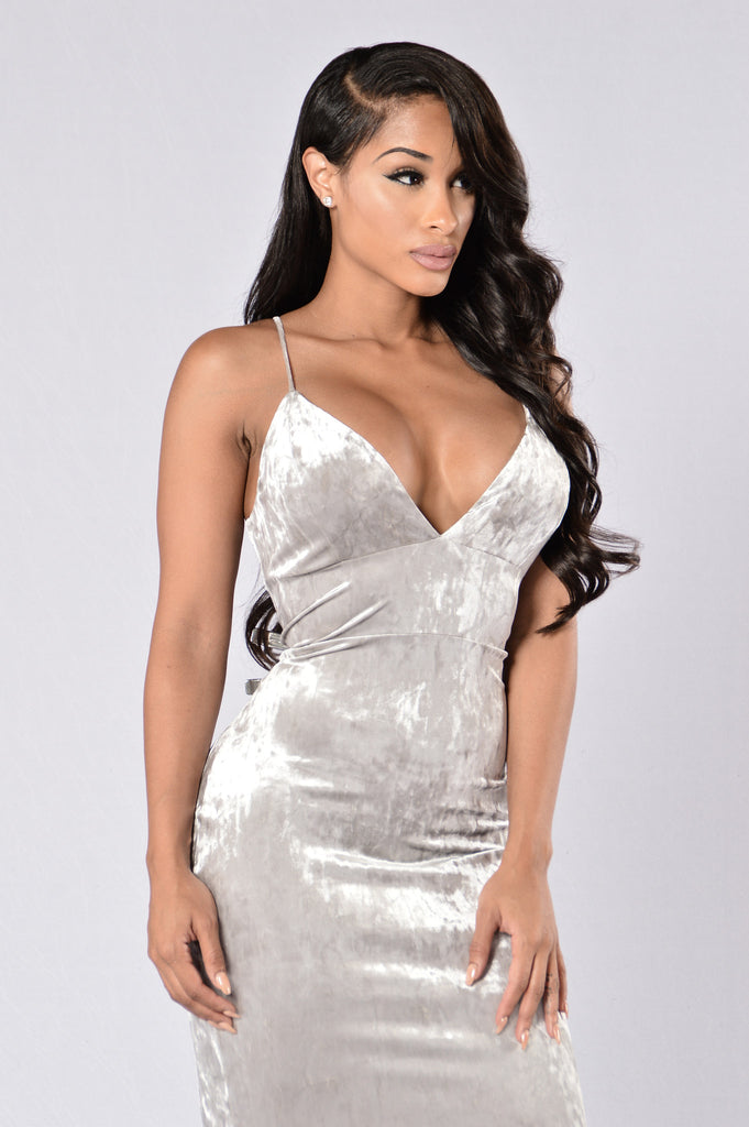 Late To The Party Dress - Silver