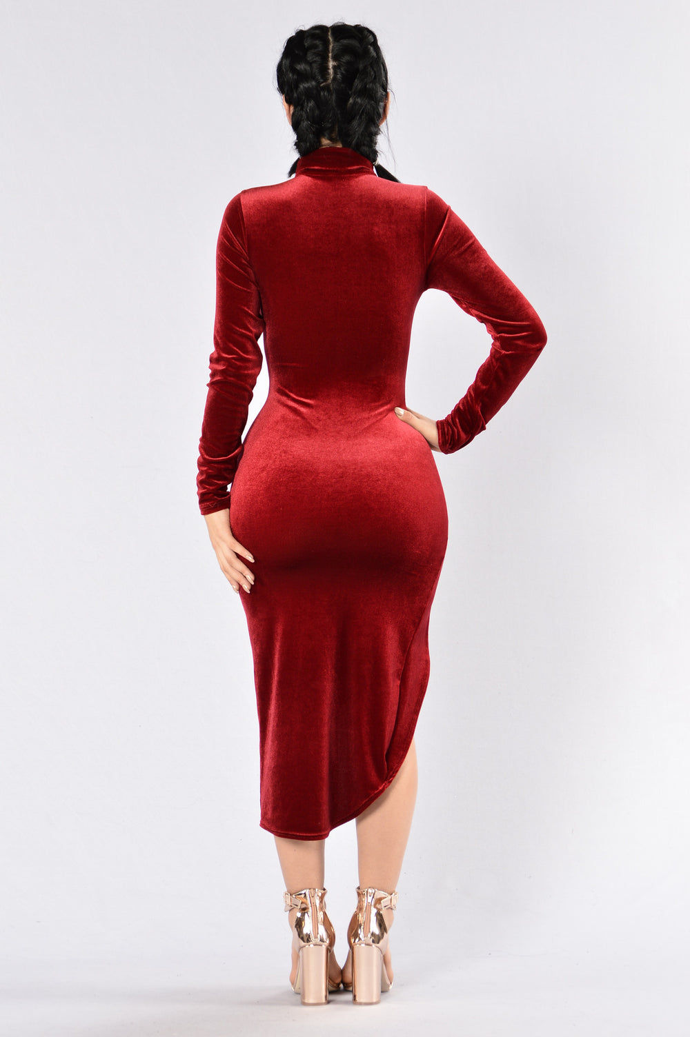 Not A Side Chick Dress - Burgundy