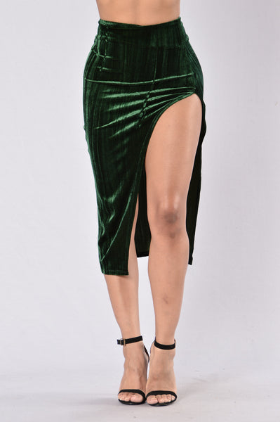 Say Something Skirt  - Dark Green