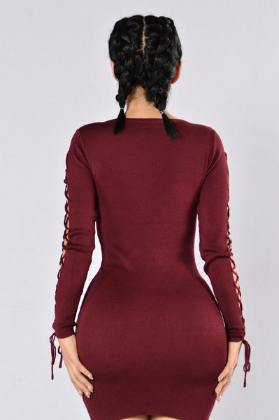 Double Agent Dress - Burgundy