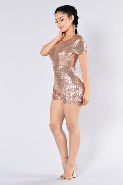 Don't Stop Now Romper - Rose Gold