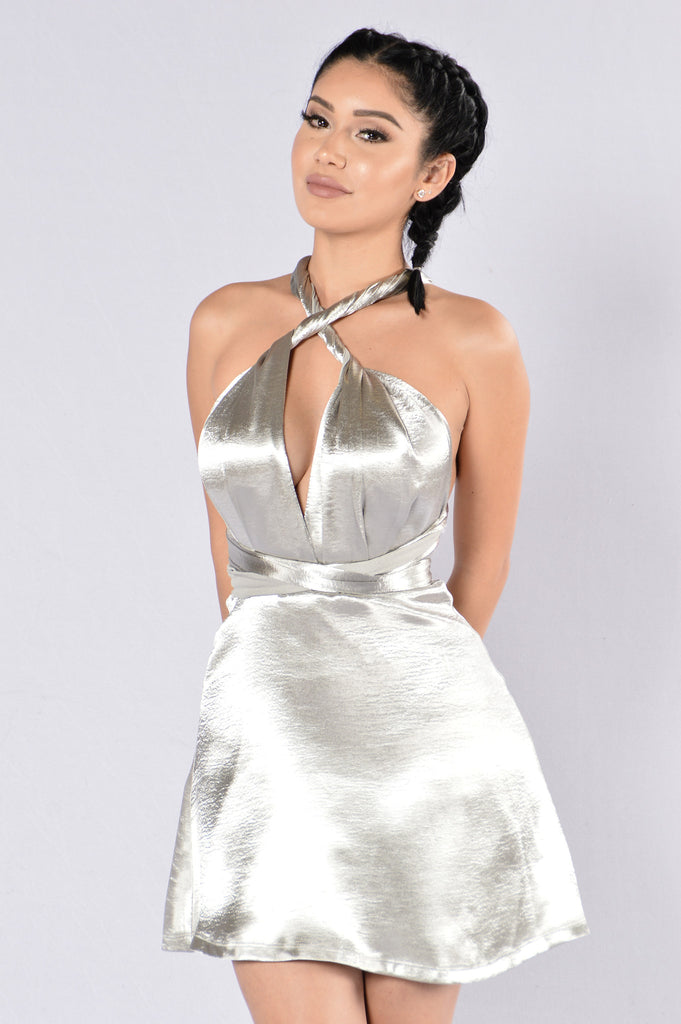 Do It How You Like It Dress - Silver