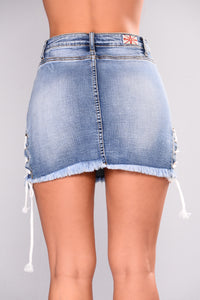 Lace N Go Denim Skirt - Medium Blue Wash