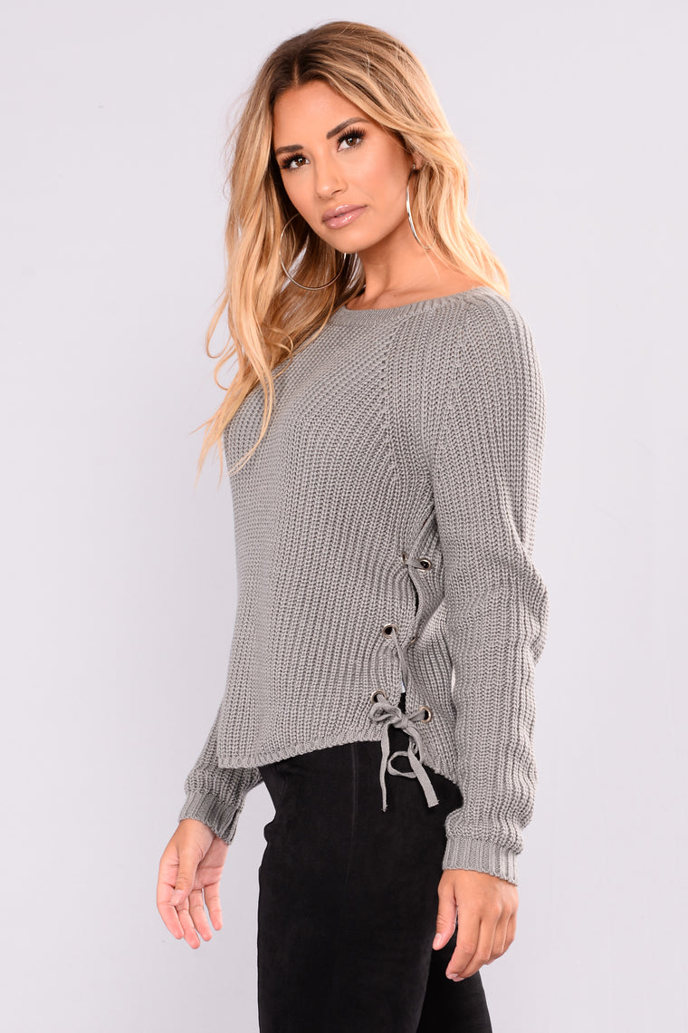 Goldmine Lace Up Sweater - Heather Grey
