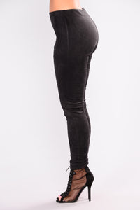Olivia Suede Leggings - Black