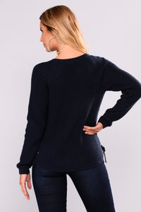 Goldmine Lace Up Sweater - Navy