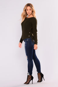 Goldmine Lace Up Sweater - Olive