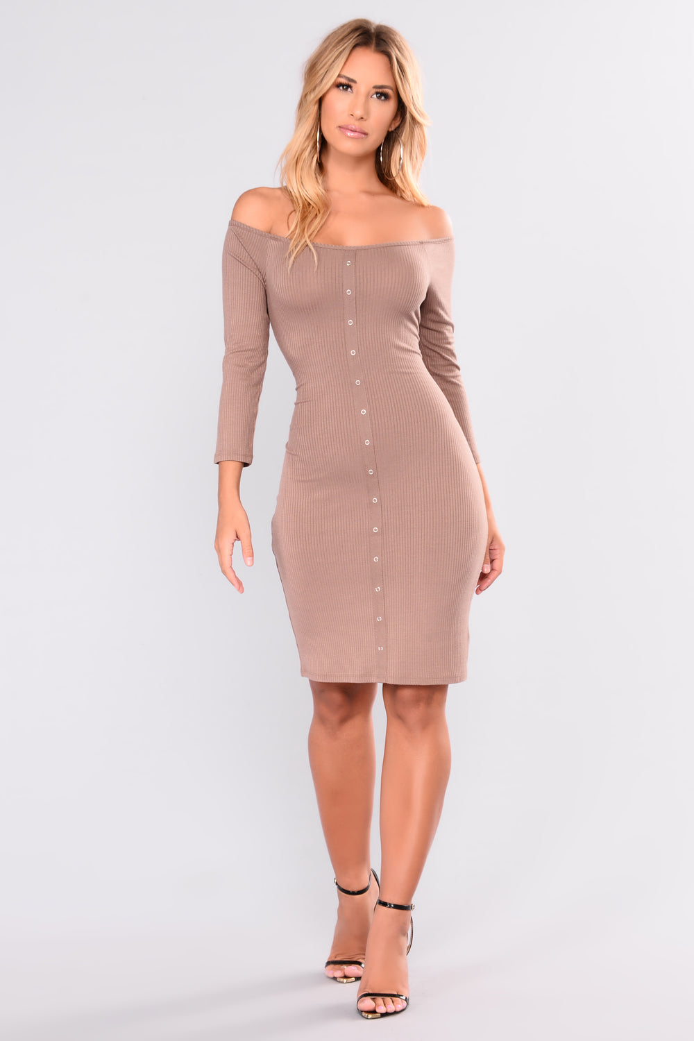 Young Love Ribbed Dress - Mocha