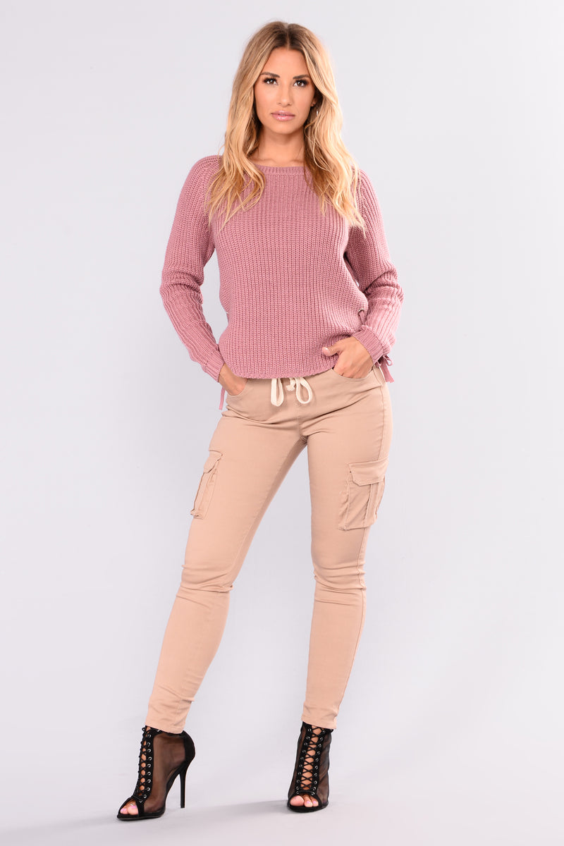 Goldmine Lace Up Sweater - Mauve