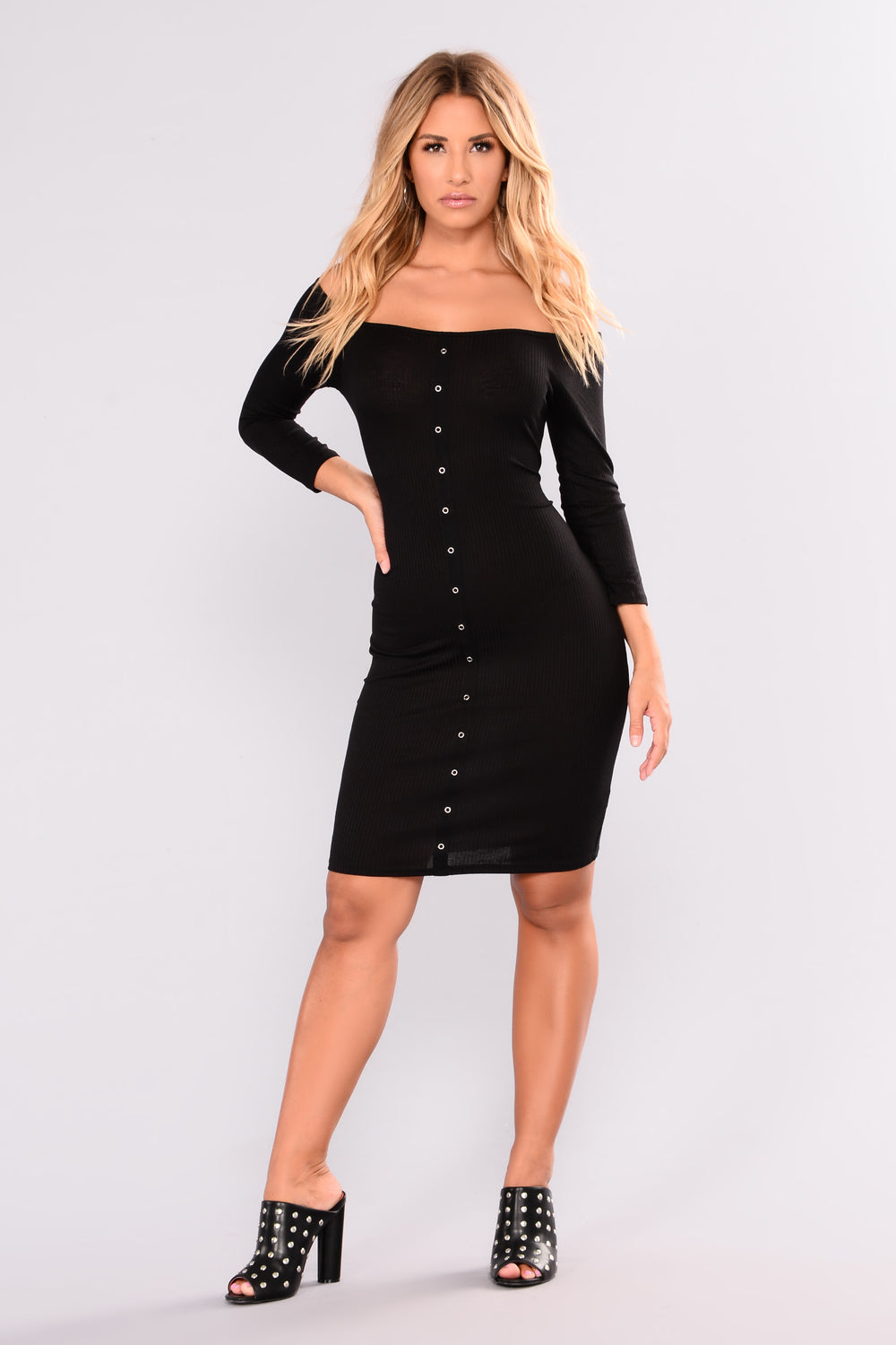 Young Love Ribbed Dress - Black