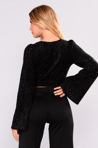 Lana Fuzzy Shine Top - Black