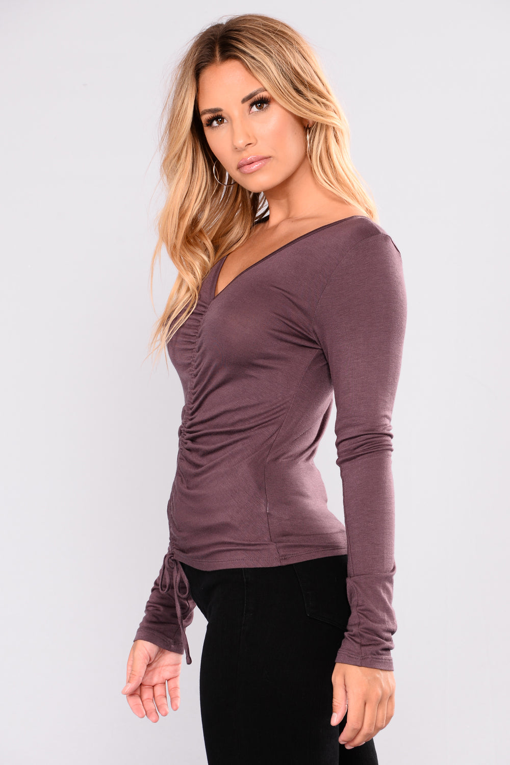 Lara Shirred Front Top - Dusty Violet