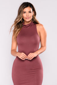 Check The High Neck Dress - Red Brown