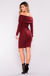 Bottom Line Sweater Dress - Burgundy