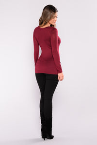 Basic Long Sleeve Tee - Burgundy