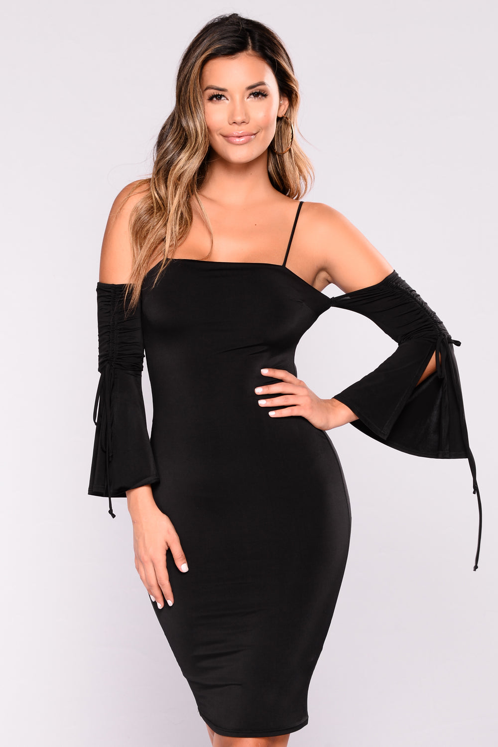 Konnie Off Shoulder Dress - Black