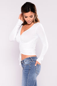 Lara Shirred Front Top - Off White