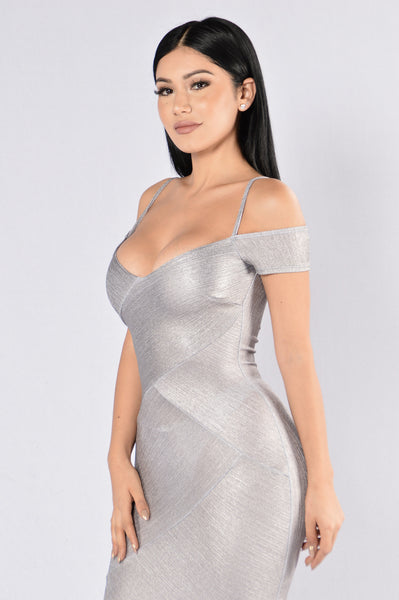 Tell Me Twice Dress - Silver