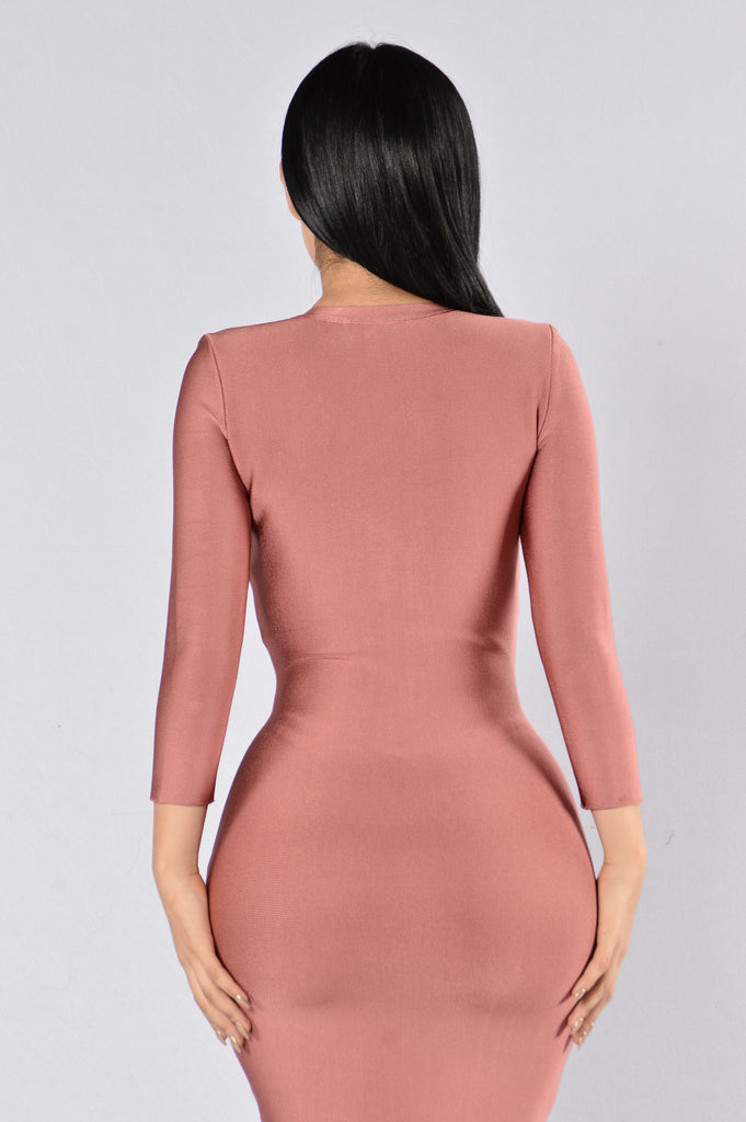Unzip Me Bandage Dress - Mauve