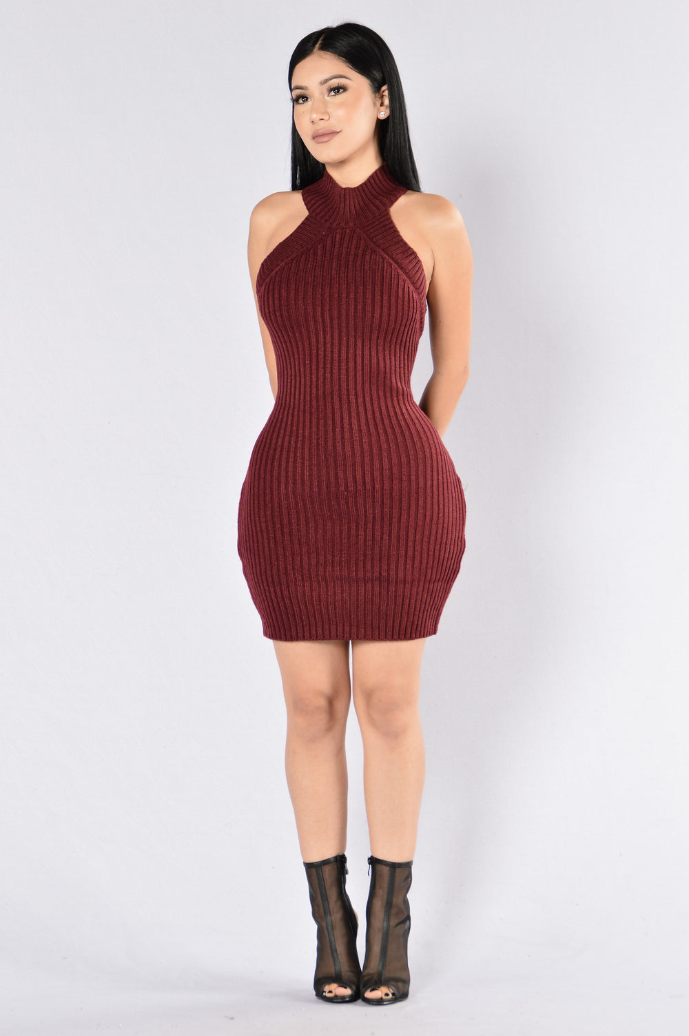 Kiss It Better Dress - Burgundy