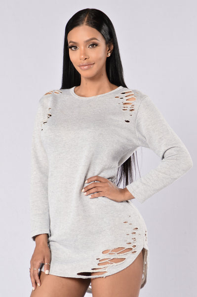 Beautiful Disaster Dress - Light Grey