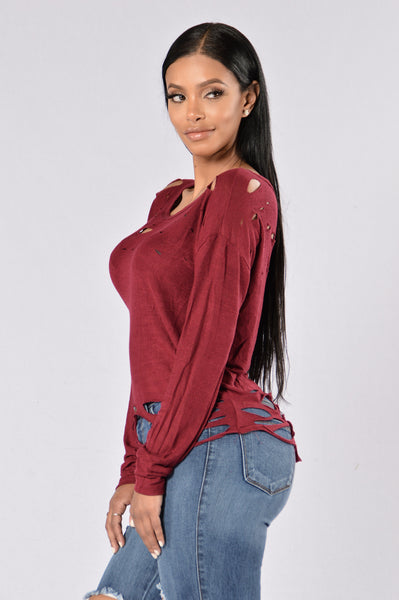 Adrenaline Junkie Top - Burgundy