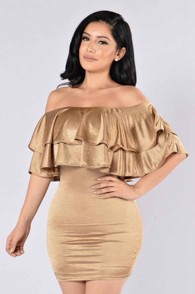 Here We Go Dress - Gold