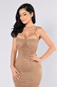 Rich Like Suede Dress - Mocha Angle 4