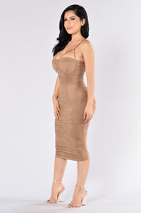 Rich Like Suede Dress - Mocha Angle 3