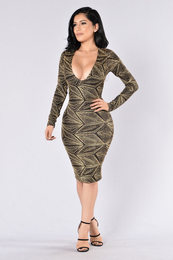 Hold Me Kiss Me Dress - Gold/Black