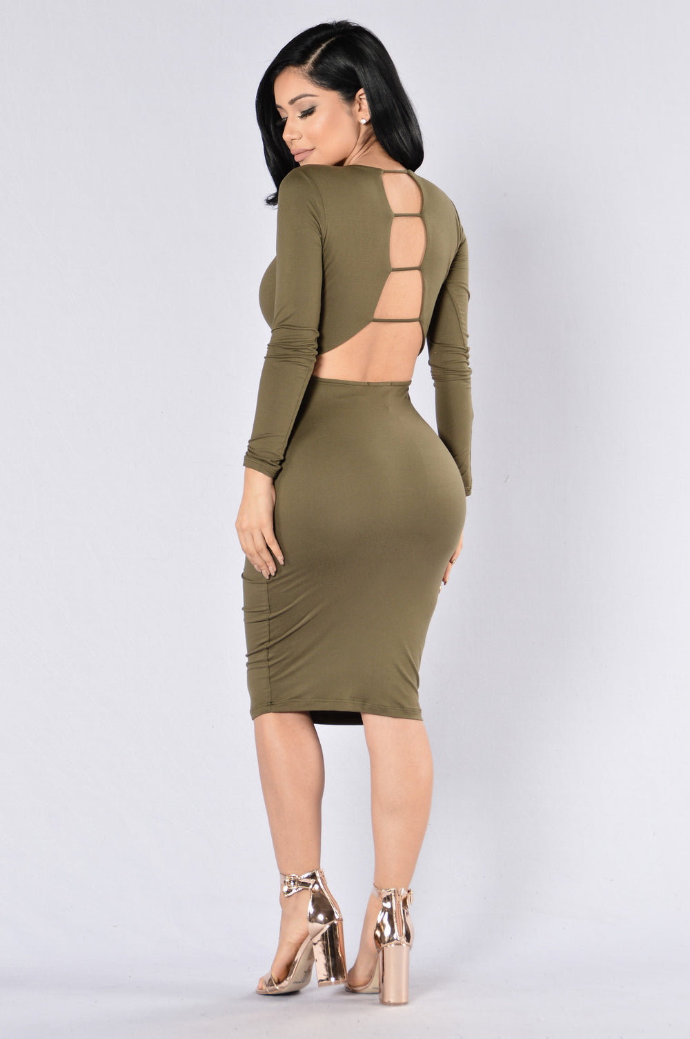 Play With Fire Dress - Olive