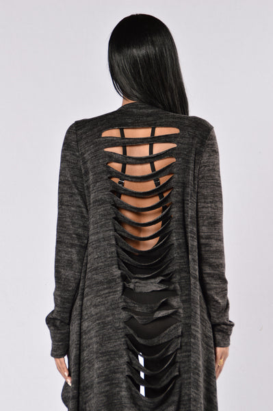 Spiral Curve Sweater - Charcoal
