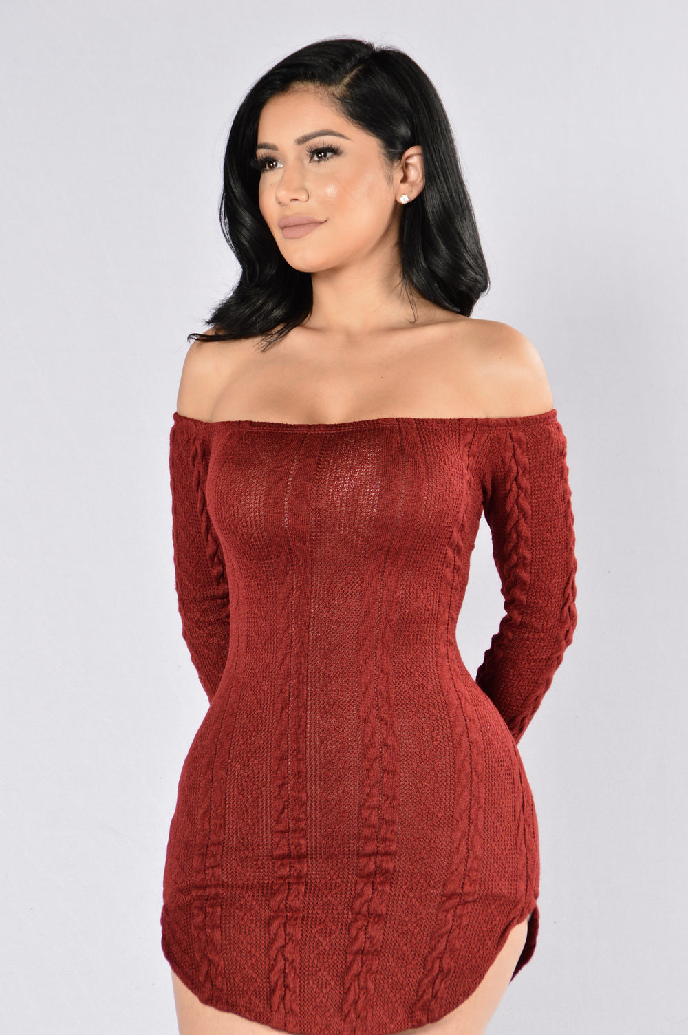 Follow In My Footsteps Dress - Burgundy