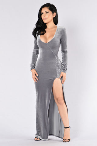 Love Sex Magic Velvet Dress - Silver