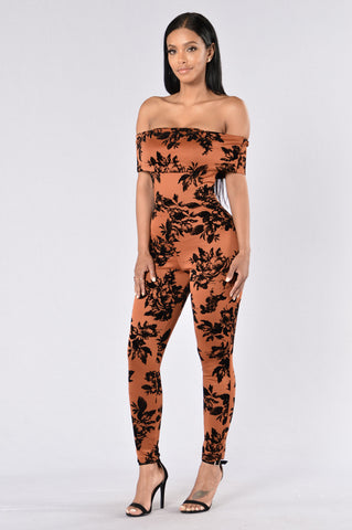 Everything Is Rosey Jumpsuit - Rust/Black