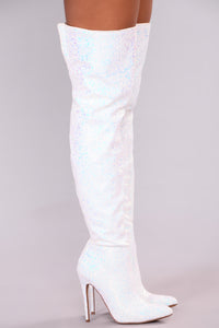 Just Add Glitter Over The Knee Boot - White
