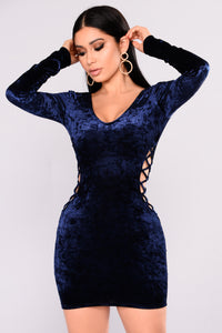 Love Lasts Forever Lace Up Dress - Navy