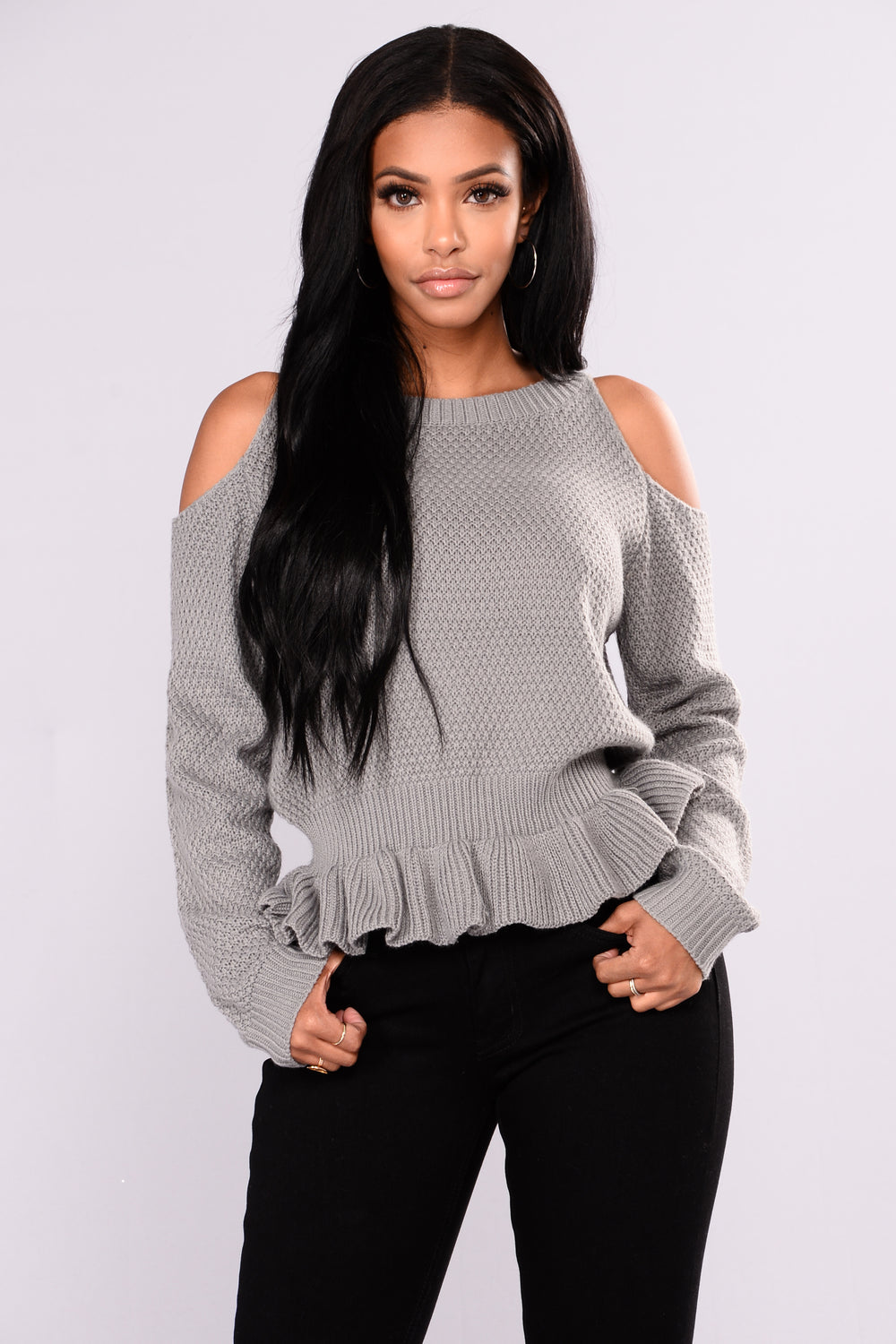 Simona Ruffle Sweater - Heather Grey