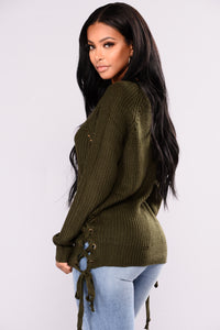 Cozy Up With Me Lace Up Sweater - Olive