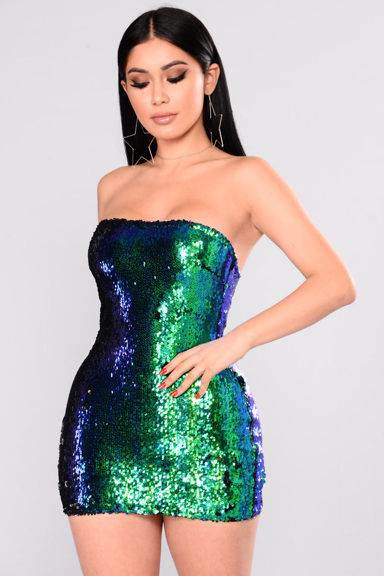 Anything Is Possible Sequin Dress - Green
