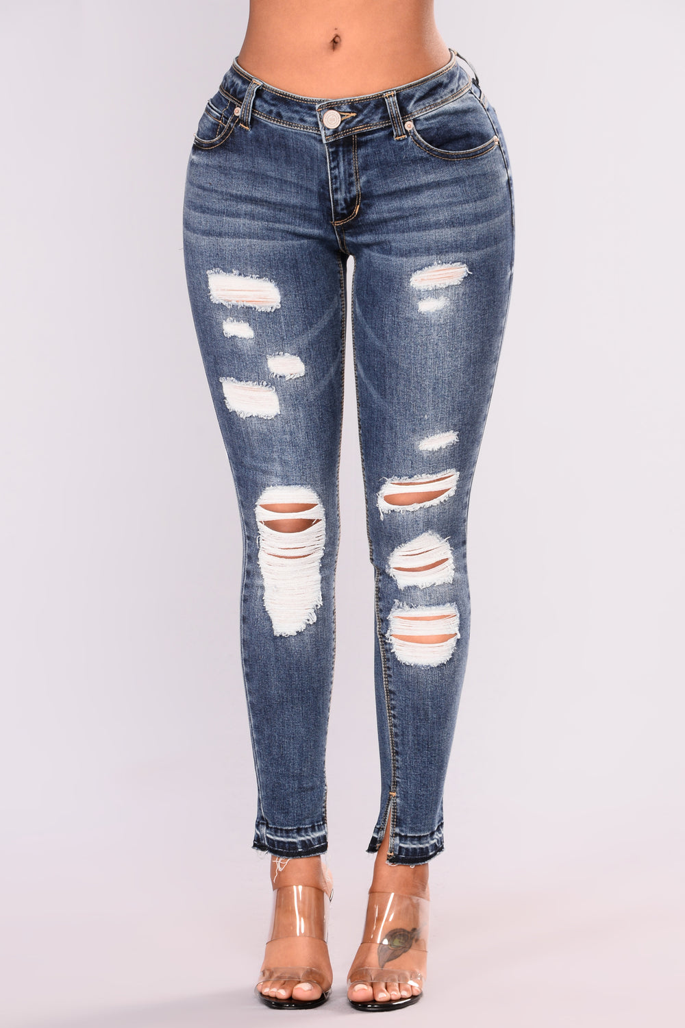 Up Against The Wall Ankle Jeans - Dark Denim