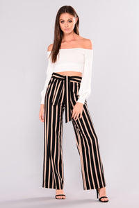 Nicola Stripe Pants - Black/Mocha