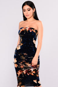 Petaluma Velvet Dress - Navy Floral