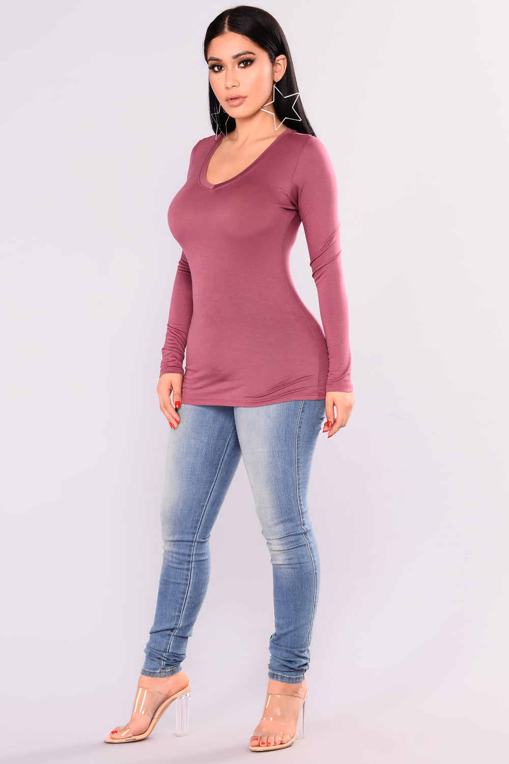 Basic Long Sleeve Tee - Pale Mauve