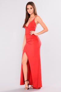 Emersyn  Ruched Dress - Red